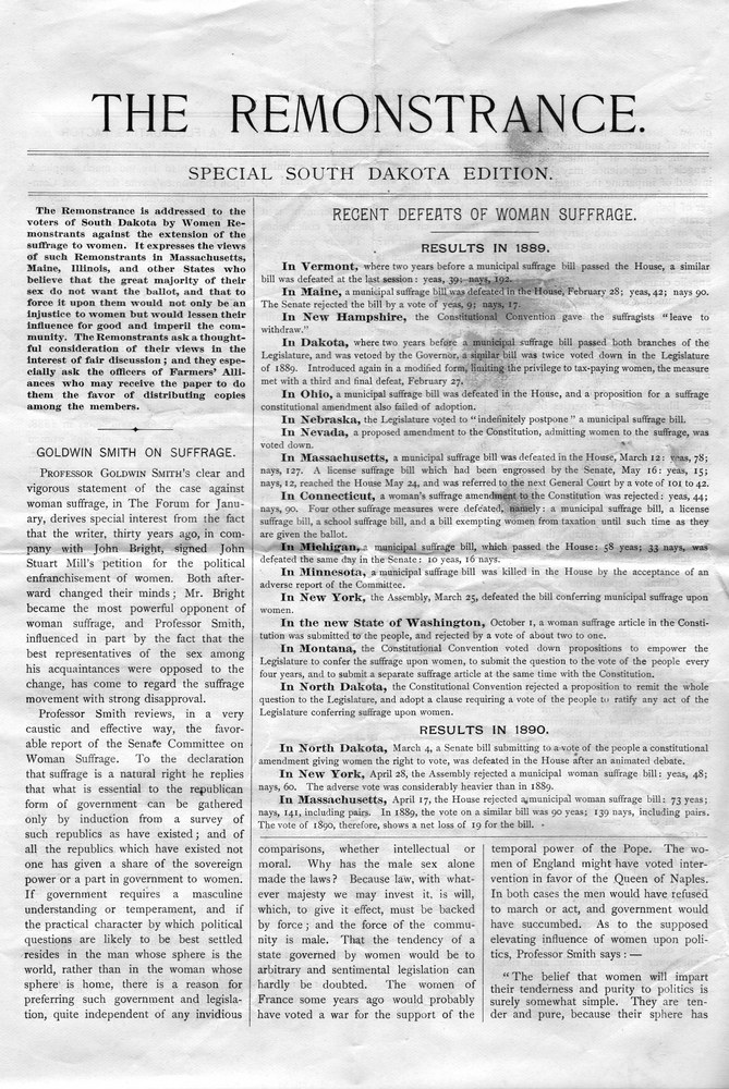 Defending Separate Spheres: Anti-Suffrage Women in South Dakota Suffrage Campaigns