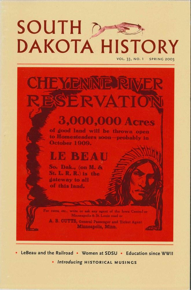 South Dakota History, volume 33 number 1