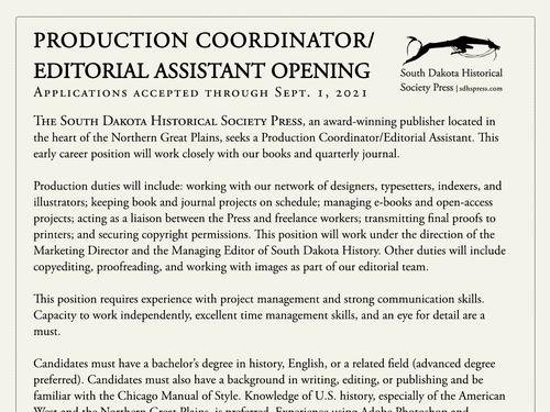 JOB OPENING: Production Coordinator/Editorial Assistant